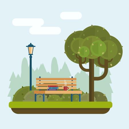 Bankje met kop en boeken onder een boom in het park. Vlakke stijl vector illustratie.