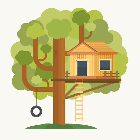 Boomhut. Huis op boom voor kinderen. Kinderspeelplaats met schommel en de ladder. Vlakke stijl vector illustratie.