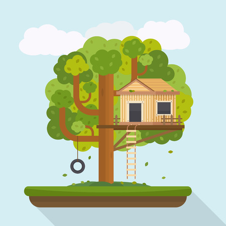 Tree house. House on tree for kids. Children playground with swing and ladder. Flat style vector illustration. Illustration