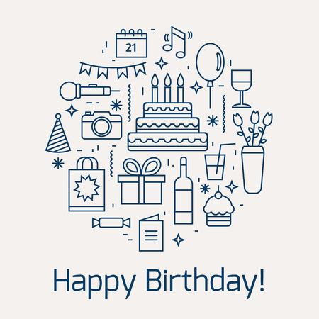 Gelukkige Verjaardag iconen set. Line stijl vector illustratie.