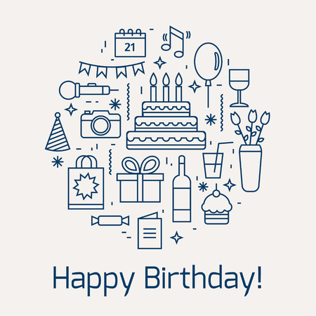 white party: Happy Birthday icons set. Line style vector illustration.