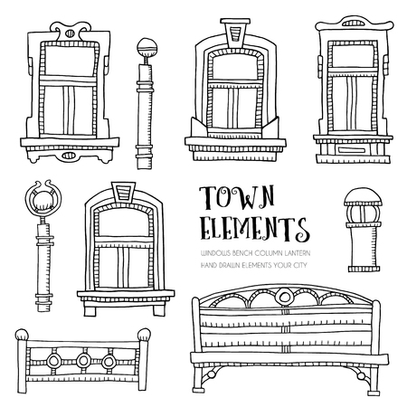 city street: Town elements hand drawn. Sketch with windows, bench, lantern and column. Vector illustration.