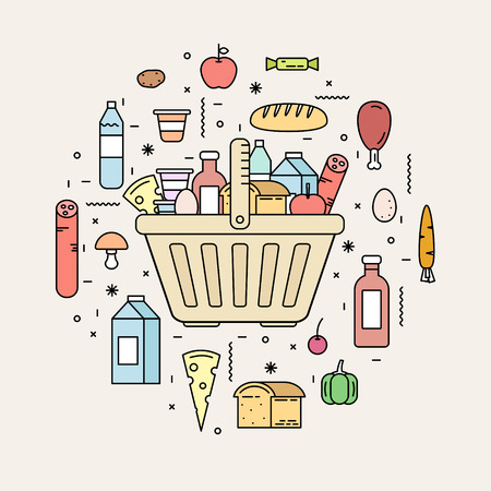 Shopping basket with food products from the store. Line style vector illustration.