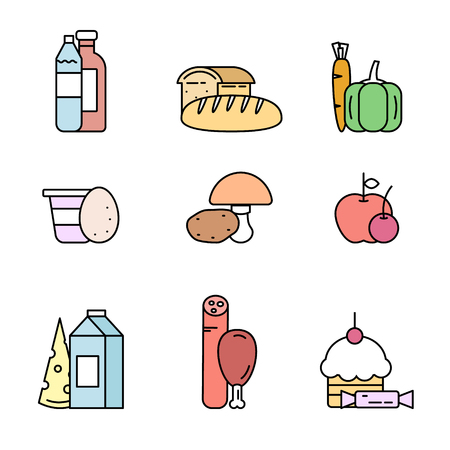 picnic food: Food products from the store.  Line style vector illustration. Illustration