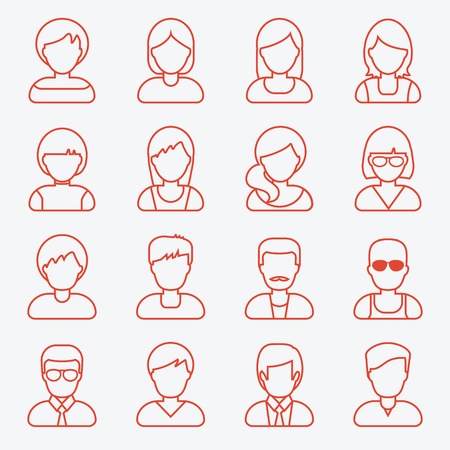 People userpics line icons in flat style in circle button. Different man and woman. Vector illustration. Çizim