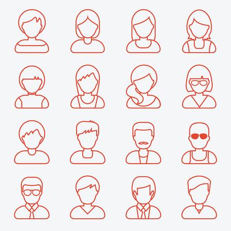masculin: Personas userpics iconos de líneas de estilo plano en el botón círculo. hombre y una mujer diferente. Ilustración del vector.