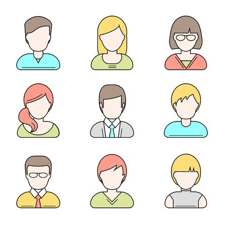 fila de personas: Personas userpics iconos de líneas de estilo plano en el botón círculo. hombre y una mujer diferente. Ilustración del vector.