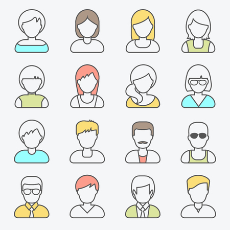 People userpics line icons in flat style in circle button. Different man and woman. Vector illustration. Stock Illustratie