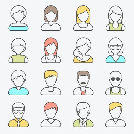 general idea: Personas userpics iconos de líneas de estilo plano en el botón círculo. hombre y una mujer diferente. Ilustración del vector.