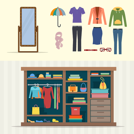 woman white shirt: Wardrobe for clothes. Closet with clothes, bags, boxes and shoes. Mirror and cloths sets. Flat style vector illustration.