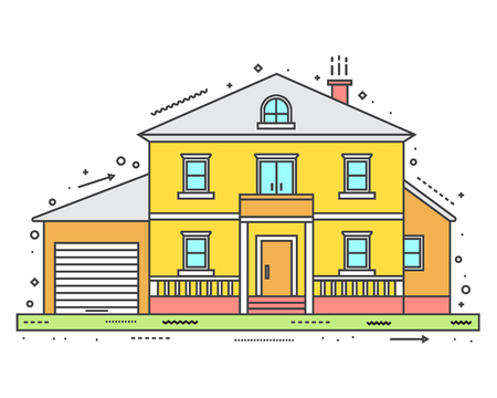 white house: Modern house in thin line style. Vector illustration.