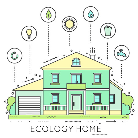 solar home: Eco-friendly home infographic. Ecology green house. House in cut. Detailed modern house interior. Rooms with furniture.  Flat style vector illustration.