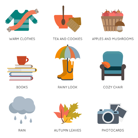 woodland: Autumn objects. Sweater and cup of tea, chair, books and other. Flat style vector illustration. Illustration