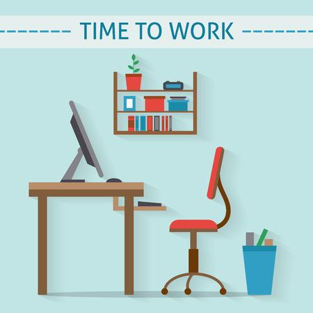 workspace: Home workplace flat vector design. Workspace for freelancer and home work. Illustration