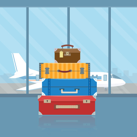 Bagage in de luchthaven. Vlakke stijl vector illustratie.