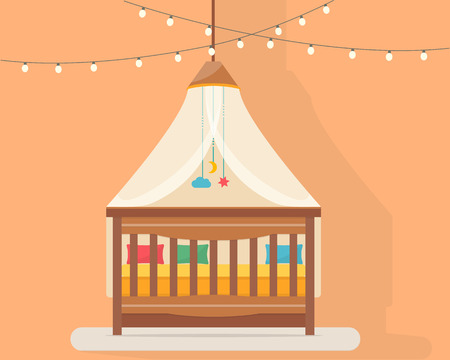 nursery room: Baby room with bed. Nursery interior. Flat style vector illustration.