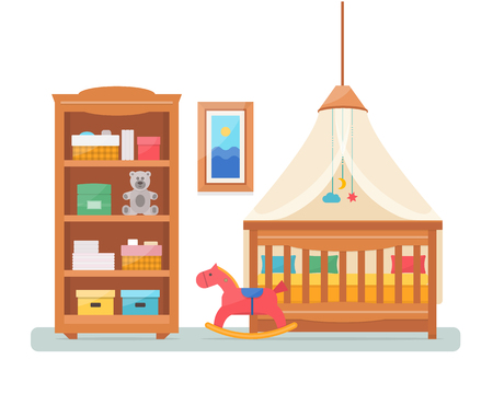 nursery room: Baby room with furniture. Nursery and playroom interior. Flat style vector illustration.