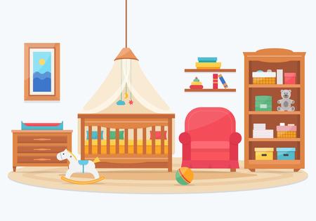 pelota caricatura: Sitio del bebé con muebles. Guardería y sala de juegos interior. ilustración vectorial de estilo plano.