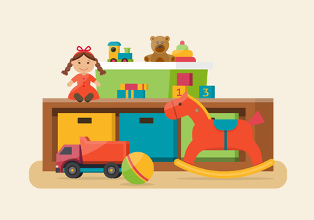 Kids toys in boxes. Playroom kids in nursery. Baby room interior. Flat style vector illustration. Vettoriali