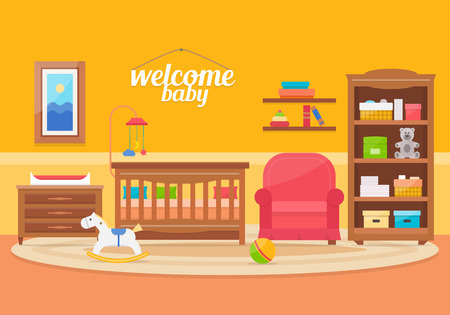 blackboard cartoon: Baby room with furniture. Nursery and playroom interior. Flat style vector illustration.