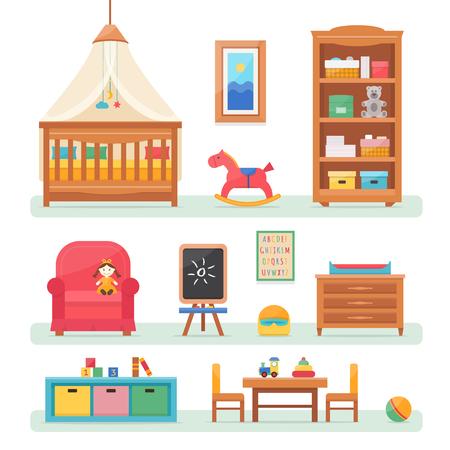 nursery: Sitio del bebé con muebles. Guardería y sala de juegos interior. ilustración vectorial de estilo plano.