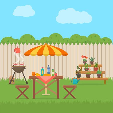 Cortile Casa con grill. Pic-nic all'aperto. Barbecue in cortile. Piatto stile illustrazione vettoriale. Archivio Fotografico - 52617178