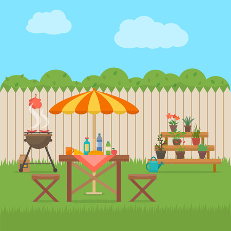 wood furniture: House backyard with grill. Outdoor picnic. Barbecue in patio. Flat style vector illustration.