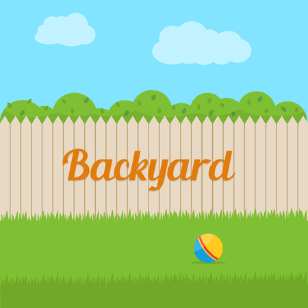 cartoon ball: Backyard of house. Flat style vector illustration.