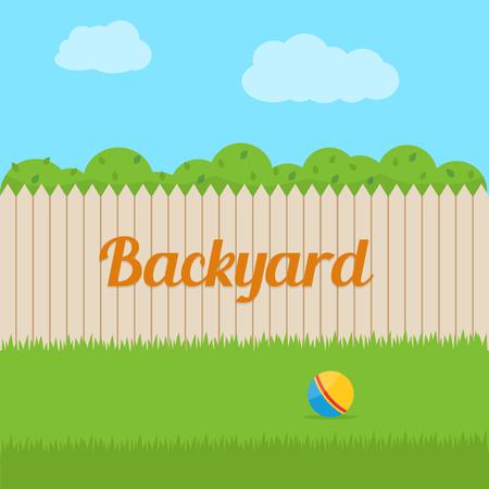 pelota caricatura: Patio trasero de la casa. ilustración vectorial de estilo plano.