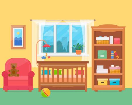 baby room con mobili. Nursery e gli interni sala giochi. Piatto stile illustrazione vettoriale.