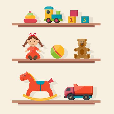 carritos de juguete: juguetes para niños en las casillas. niños sala de juegos en la guardería. habitación del bebé interior. ilustración vectorial de estilo plano. Vectores