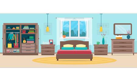 cortinas: Dormitorio con muebles y ventana. Armario con ropa y espejo. ilustración vectorial de estilo plano.