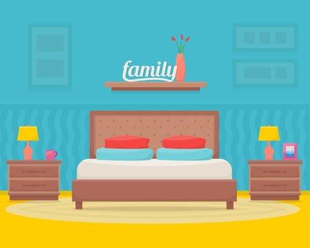 vector illustration: Bedroom with furniture. Flat style vector illustration. Illustration