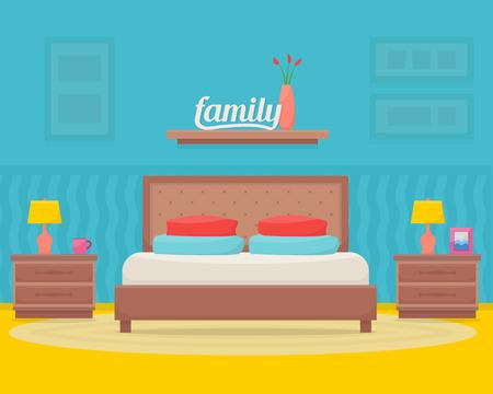 bedroom furniture: Bedroom with furniture. Flat style vector illustration. Illustration