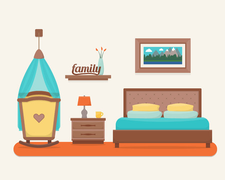 nursery room: Bedroom with bed and cot. Nursery and bedroom interior. Flat style vector illustration. Illustration