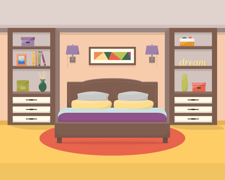 Bedroom with furniture .Flat style vector illustration. Иллюстрация