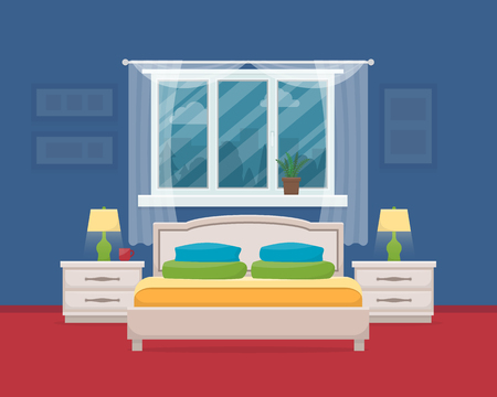 boudoir: Bedroom with furniture and window. Flat style vector illustration.