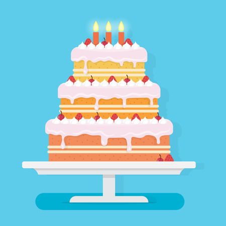 Happy Birthday cake with candles. Party and celebration design elements. Flat style vector illustration.