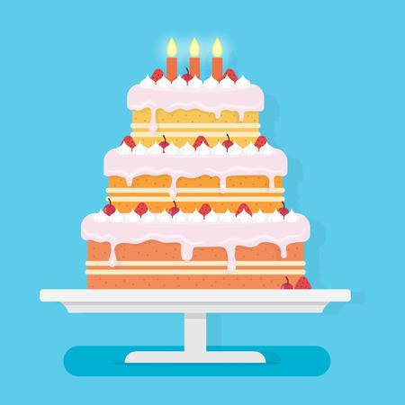 Happy birthday cake met kaarsen. Partij en viering ontwerp elementen. Vlakke stijl vector illustratie. Stock Illustratie