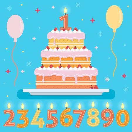 幸せなバースデー ケーキを数字ろうそく。パーティやお祝いのデザイン要素です。フラット スタイルのベクトル図です。  イラスト・ベクター素材