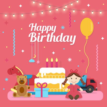 congratulations: Iconos de los niños Juego de Feliz Cumpleaños con los juguetes y pastel. Fiesta y celebración elementos de diseño. ilustración vectorial de estilo plano.
