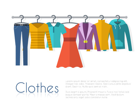 Racks with clothes on hangers. Flat style vector illustration. Vettoriali