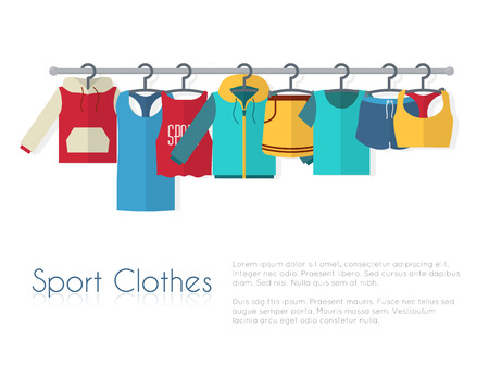 pants: Racks with sport clothes on hangers. Flat style vector illustration.
