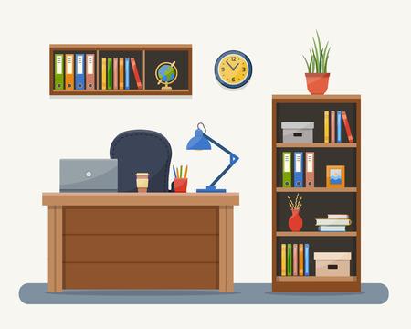 decoracion mesas: Lugar de trabajo en la oficina. Gabinete con espacio de trabajo con mesa y el ordenador. Ilustración del vector del estilo plana con textura.