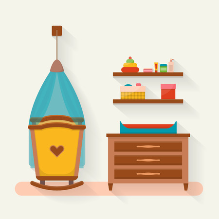 desk toy: Baby room with furniture. Nursery interior. Flat style vector illustration.