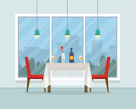 sitting at table: Dining table for date with glasses of wine, flowers and chairs. Flat style vector illustration.