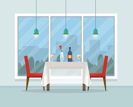 Mesa de comedor para la fecha con vasos de vino, flores y sillas. Ilustración vectorial de estilo Flat. Foto de archivo - 52617201