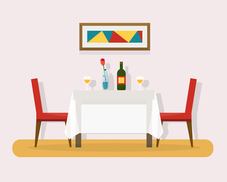 restaurant dining: Dining table for date with glasses of wine, flowers and chairs. Flat style vector illustration.
