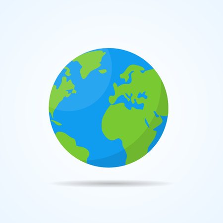 Earth planet with shadow. Flat style vector illustration.