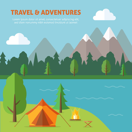 to tend: Camping with tend and bonfire and nature landscape. Flat style vector illustration.